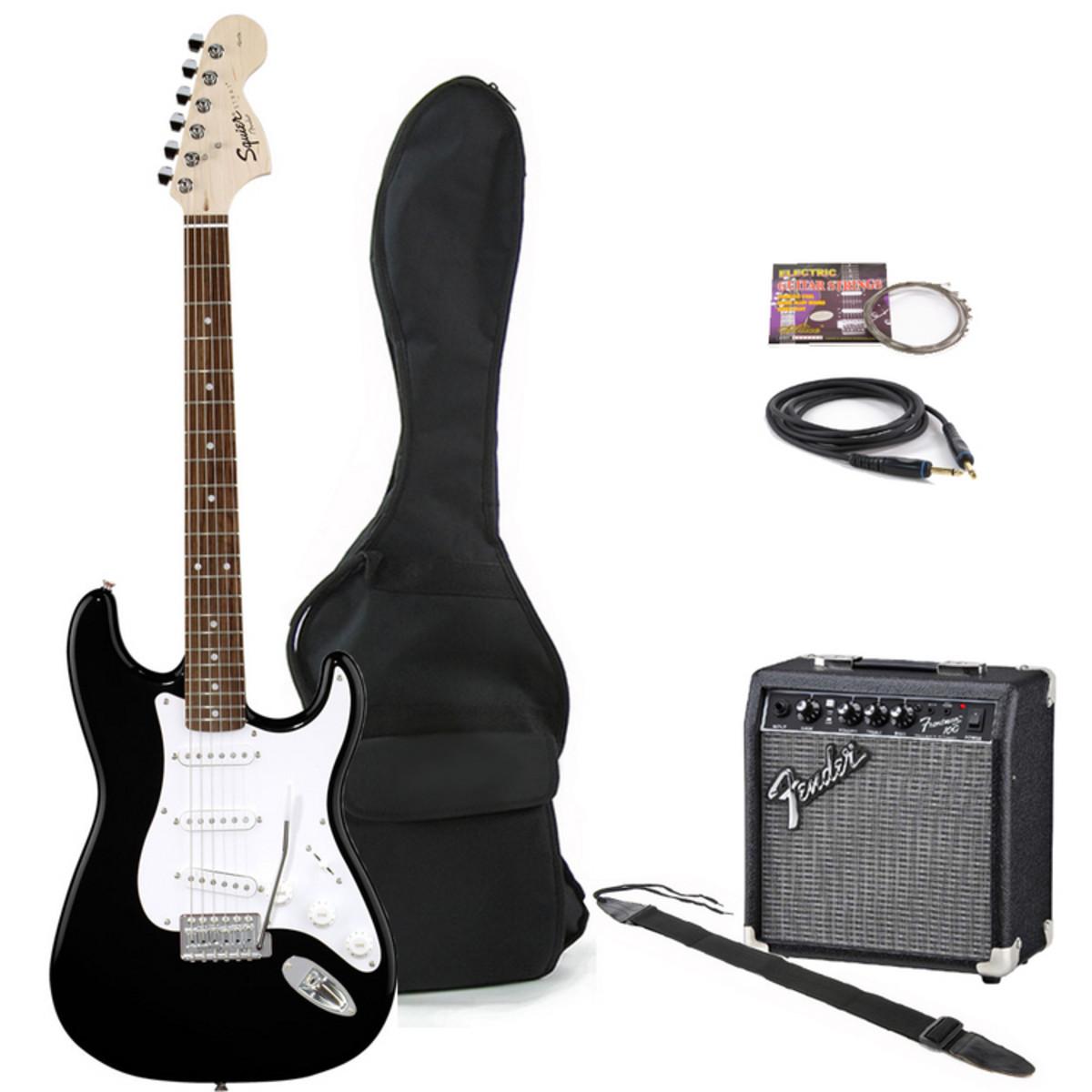 squier bullet strat frontman 10g amp pack black at gear4music. Black Bedroom Furniture Sets. Home Design Ideas