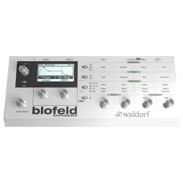 Waldorf Blofeld Synthesizer Desktop Module, White - Top