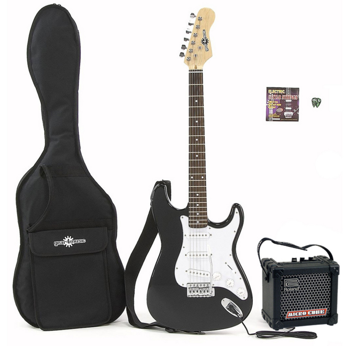 guitare lectrique st roland micro cube pack ampli noir. Black Bedroom Furniture Sets. Home Design Ideas