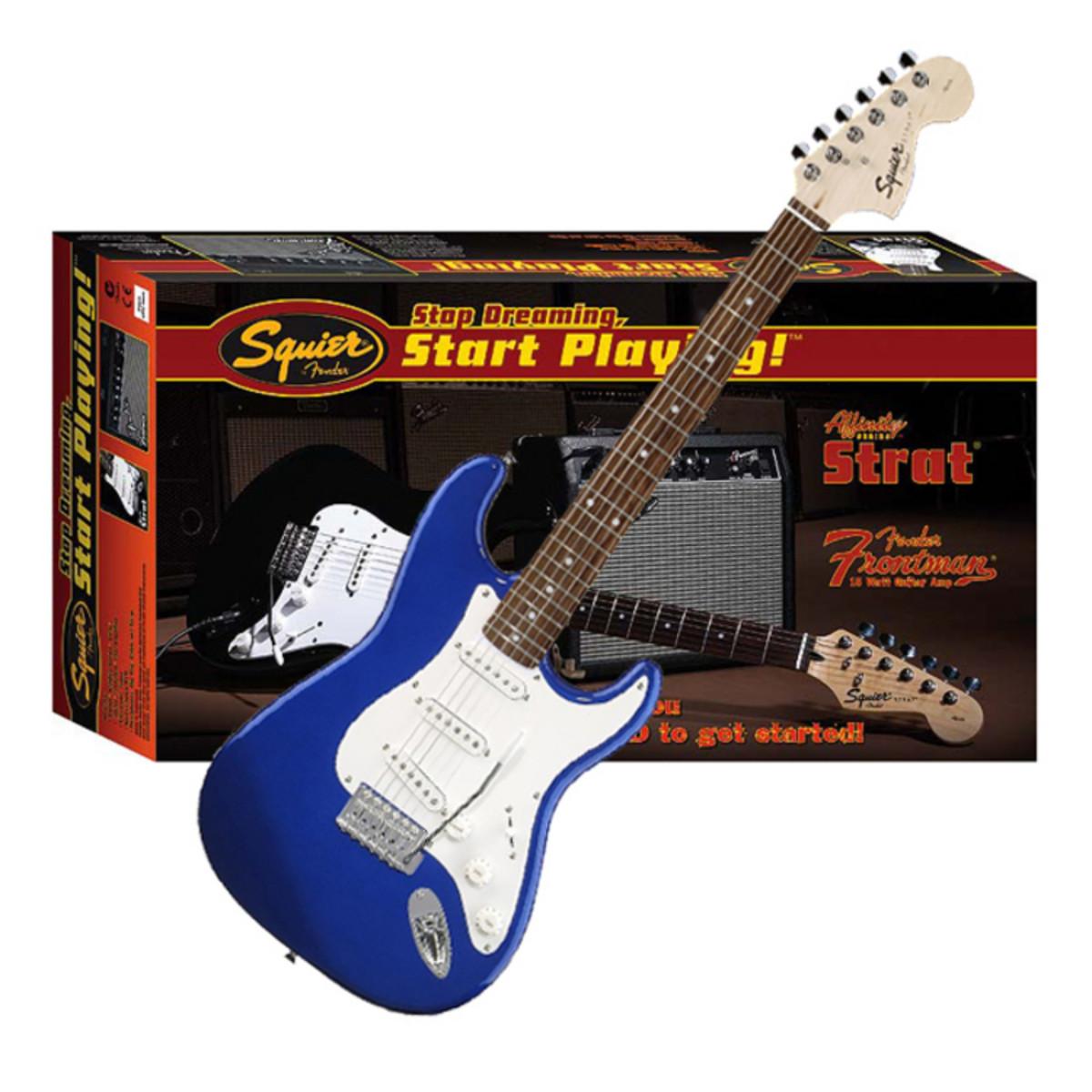 Ausgelaufene Squier von Fender Affinity Strat Frontman Amp Pack blau ...