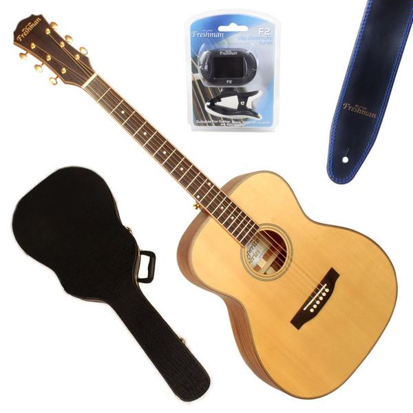 Freshman Songwriter Left-Handed OM Acoustic Guitar, Natural Satin