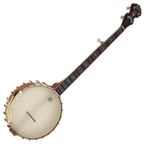 Ozark 5 String Banjo Flamed Maple, Gold Open Back