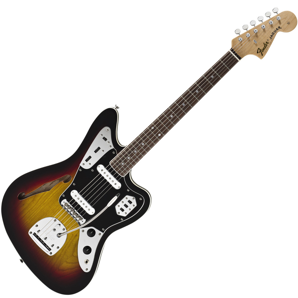 fender special edition jaguar thinline, 3-colour sunburst | gear4music