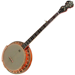 Ozark 5 String Banjo Flamed Maple, Gold Engraved