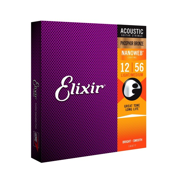 Elixir E16077 Phosphor Bronze Nanoweb Medium, 12-56
