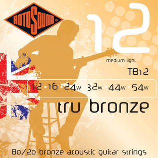 Rotosound Tru Bronze TB12 Brass Alloy Acoustic Guitar Strings, 12-54