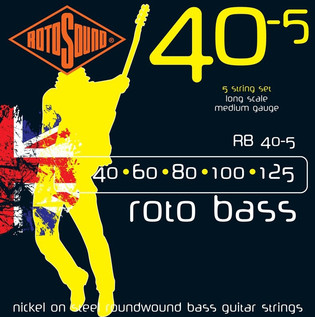 Rotosound RB40 Nickel 5-String Bass Guitar Strings, 40-125