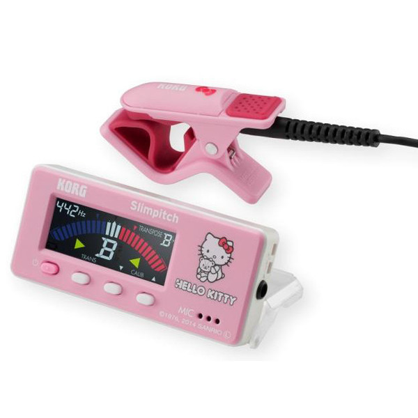 Korg Slimpitch Chromatic Tuner + Contact Microphone, Pink Hello Kitty