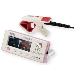Korg Slimpitch Chromatic Tuner, Contact Microphone, White Hello Kitty