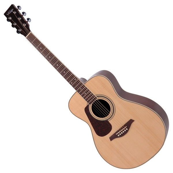 Vintage V300 Folk Acoustic Guitar Left Handed, Natural