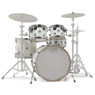 DW Design Series Matte Lacquer 22'' Maple Shell Pack, White Satin