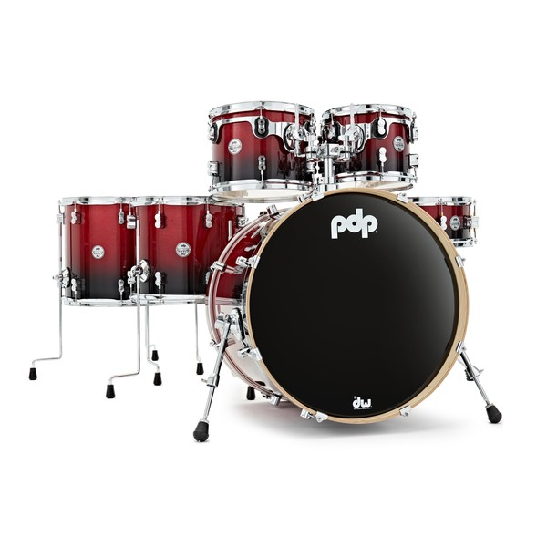 PDP Drums Concept Maple 22'' CM6 Shell Pack, Red to Black Sparkle