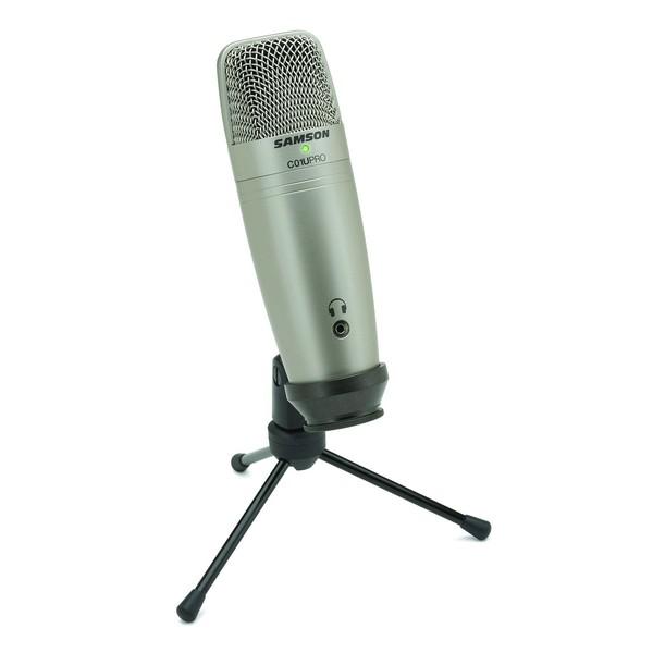 Samson C01U Pro USB Studio Condenser Microphone, Front Angled Right
