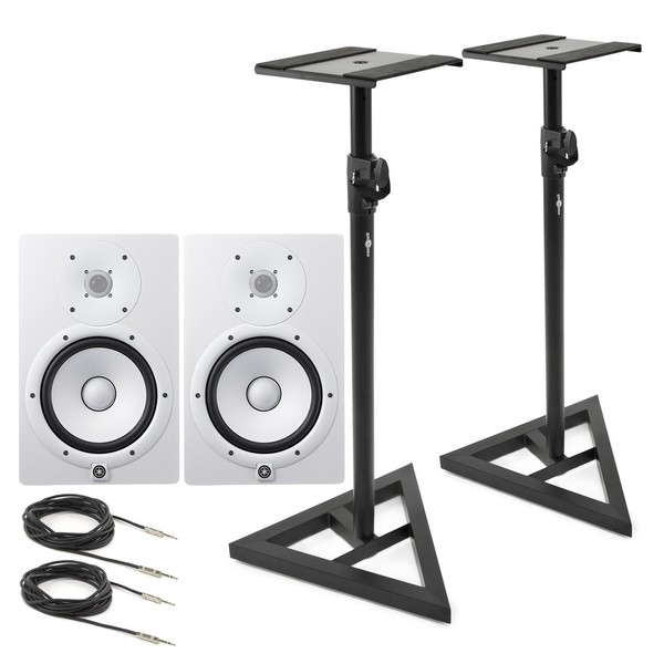 Yamaha HS8W Full-Range Studio Monitor (Pair), White with Stands - Full Bundle
