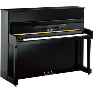 Yamaha P116 Upright Piano, Black Polyester with Castors