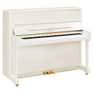 Yamaha P121 Upright Piano, White Polyester with Castors