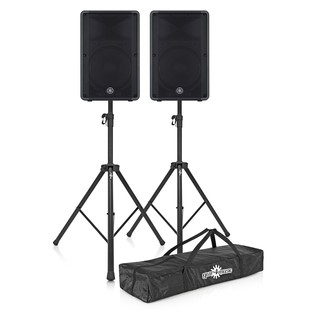 Yamaha DBR15 Active PA Speaker Pair with Speaker Stands