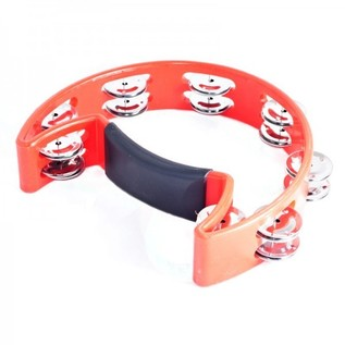Performance Percussion 1/2 Moon Tambourine, Red