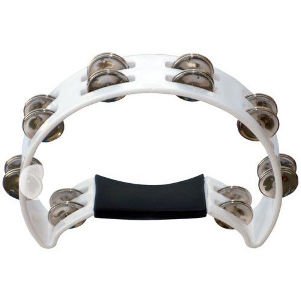 Performance Percussion 1/2 Moon Tambourine, White