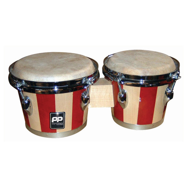 Performance Percussion Two Tone Wood Bongos, Chrome Hardware