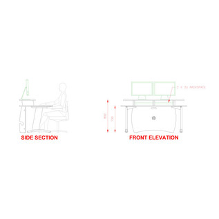 AKA Design ProMedia Desk, Blue and Maple 3