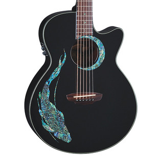 Luna Fauna Koi Folk Electro Acoustic Guitar, Abalone Koi on black