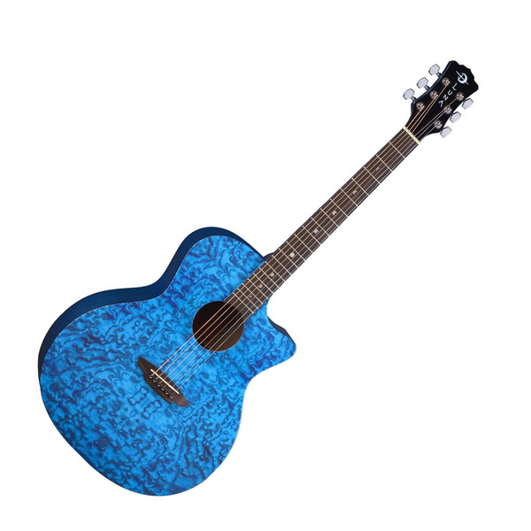 Luna Gypsy Quilted Ash Grand Auditorium Acoustic Guitar, Blue