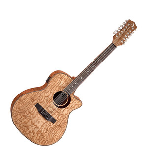 Luna Woodland Quilted Ash 12 String Electro Acoustic Guitar