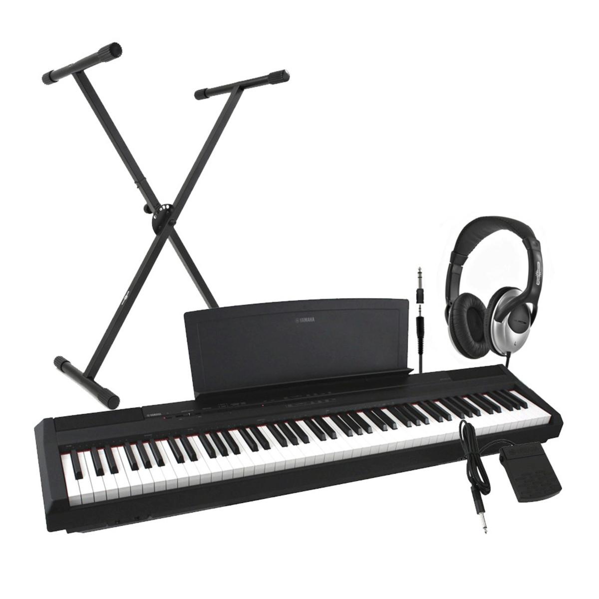 disc yamaha p35 digital piano black including stand and headphones hos. Black Bedroom Furniture Sets. Home Design Ideas