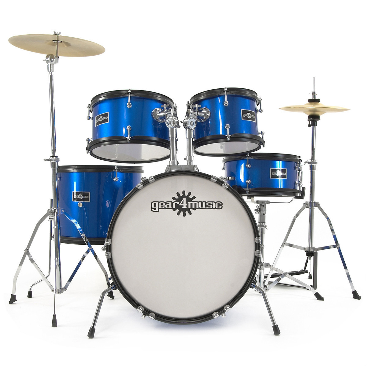 Junior 5 Piece Drum Kit By Gear4music Blue Nearly New