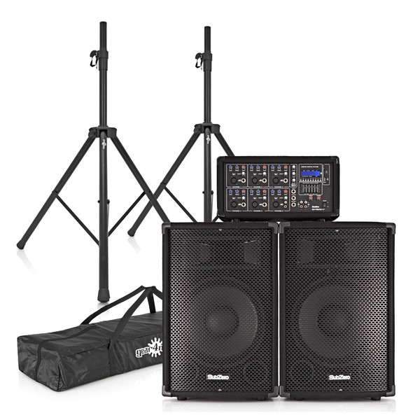 300W SubZero PA System with FX Mixer, Speakers and Stands