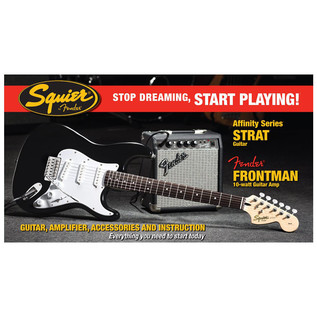 Squier by Fender Stratocaster Pack with 10w Amp, Black