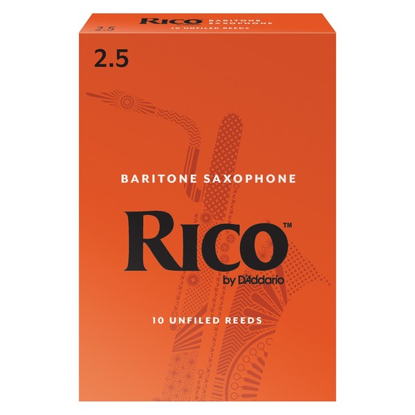 Rico by D'Addario Baritone Saxophone Reeds 2.5 Strength, Pack of 10