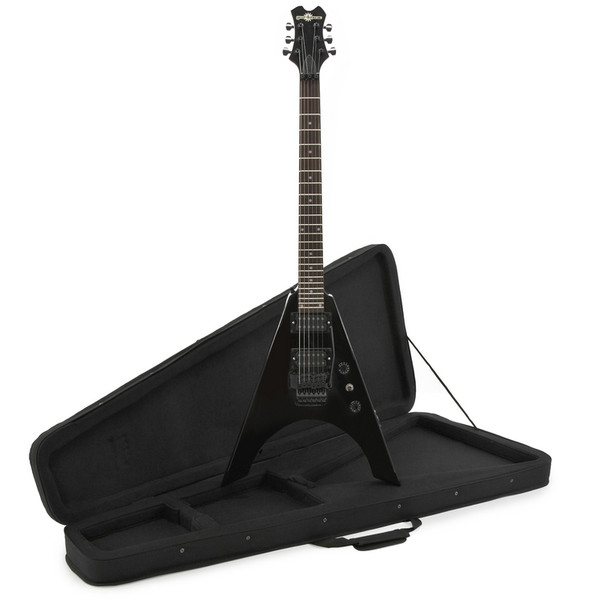 10b28f52a0 Houston Electric Guitar + Case by Gear4music, Black - Ex Demo. image 1.  image 2