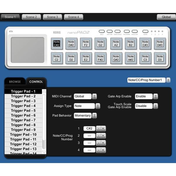 nanoPAD2 - Korg Kontrol Editor Software