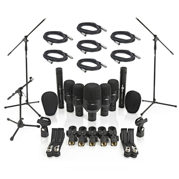 7 Piece Drum Mic Complete Set Including Stands and Cables