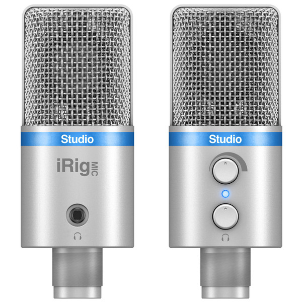 IK Multimedia iRig Mic Studio Large Diaphragm Digital Mic, Silver