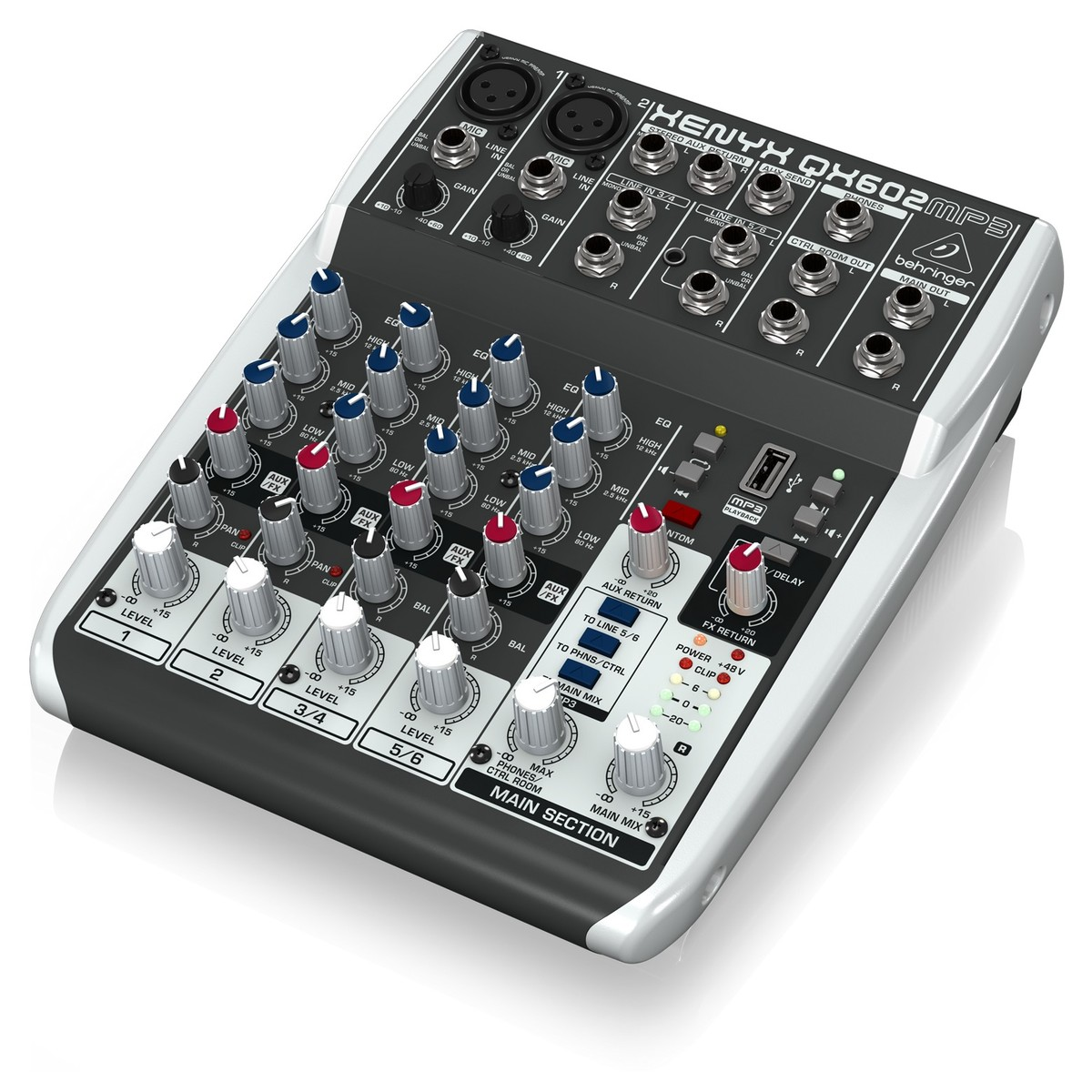 Behringer Xenyx Qx602mp3 6 Input Mixer With Mp3 Player At Gear4music Cb Radio Wiring