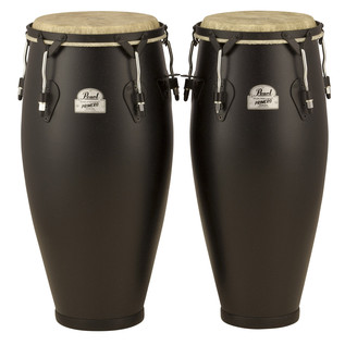 Pearl Field Percussion 10''/11'' Conga Set with Stand, Textured Black