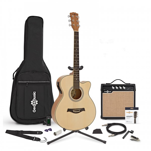 Single Cutaway Electro Acoustic Guitar + Complete Pack