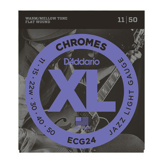 D'Addario ECG24 XL Flatwound Chromes, Jazz Light, 11-50