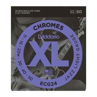 D'Addario ECG24 XL Flatwound Chromes, Jazz Light, 11-50