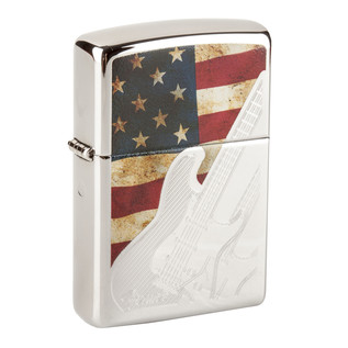 Fender Zippo American Flag w Etching Lighter