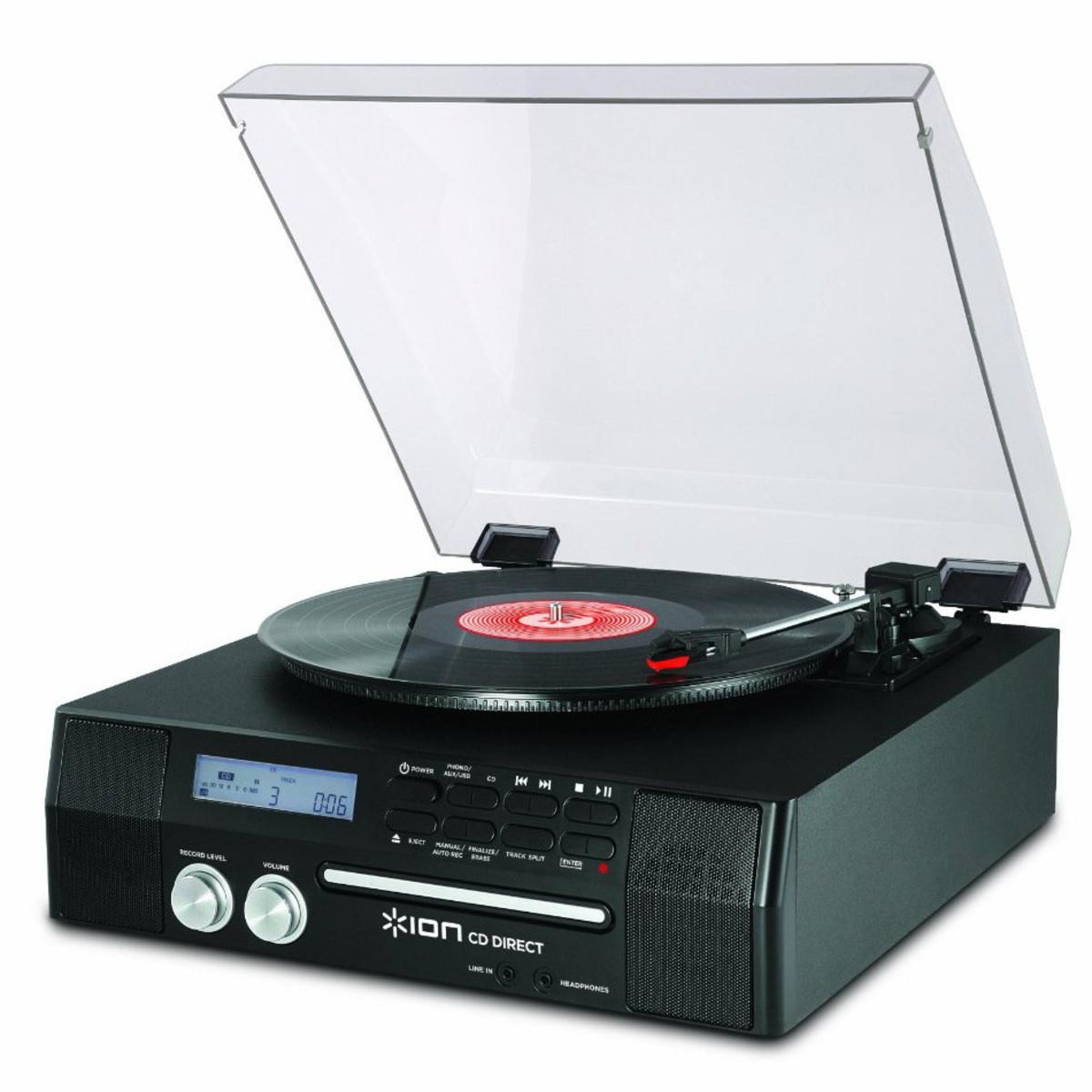 Platine avec graveur de cd int gr haut parleurs ion cd - Tourne disque avec haut parleur integre ...