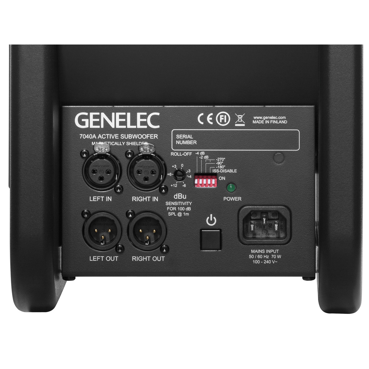 Genelec 7040a Ultra Compact Subwoofer At Gear4music 30hz To 90hz Adj Pa Driver Rear Panel Loading Zoom