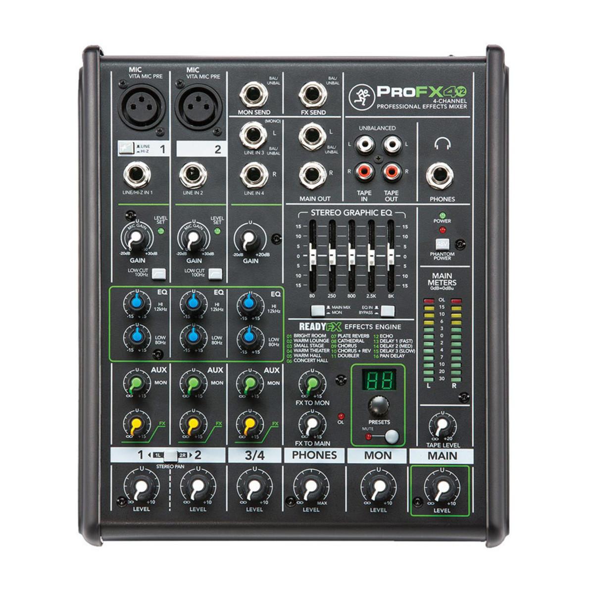 Table de mixage mackie profx4v2 4 canaux effets professionnels - Table de mixage professionnel ...