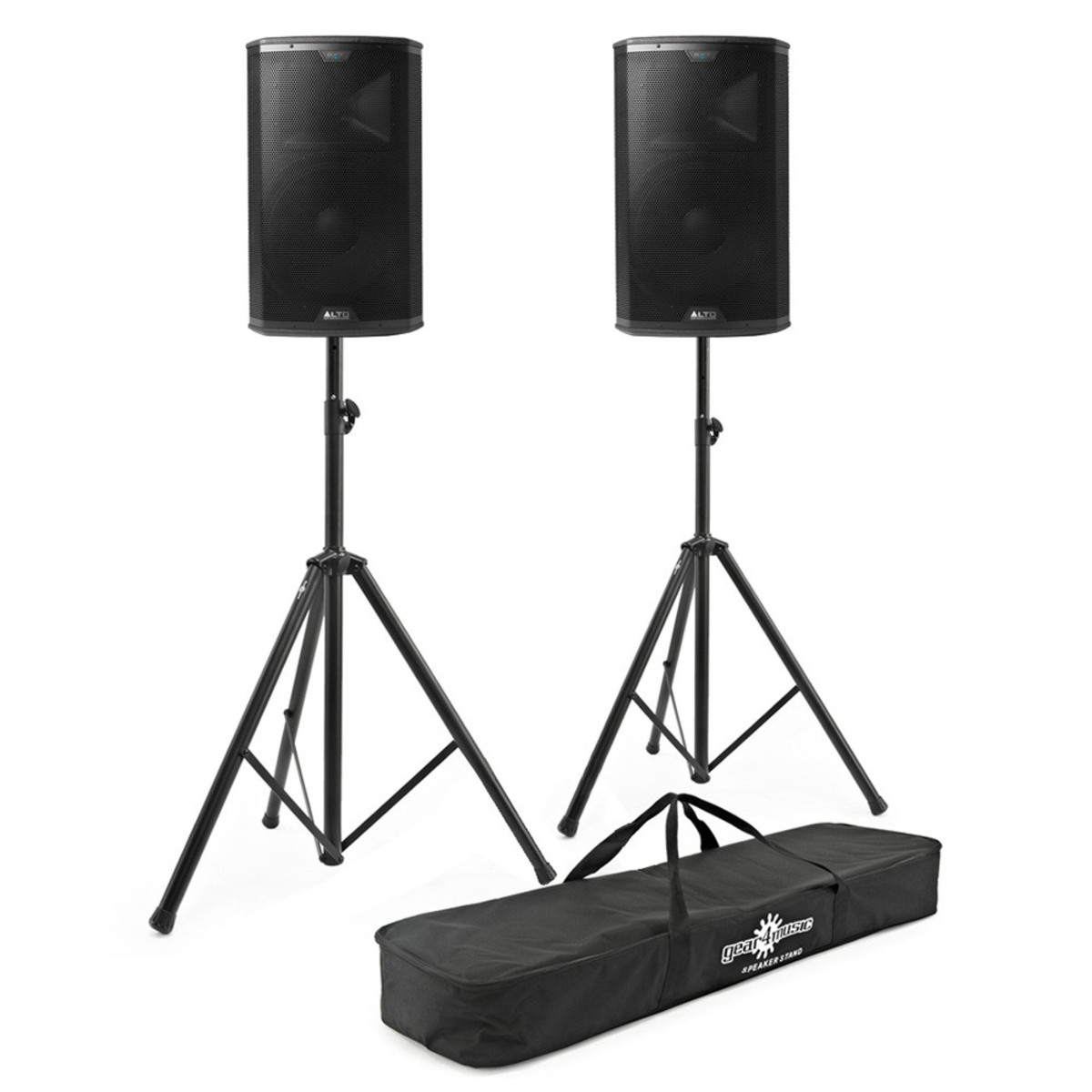 disc alto black 15 15 39 39 2 way active pa speakers with free stands at gear4music. Black Bedroom Furniture Sets. Home Design Ideas
