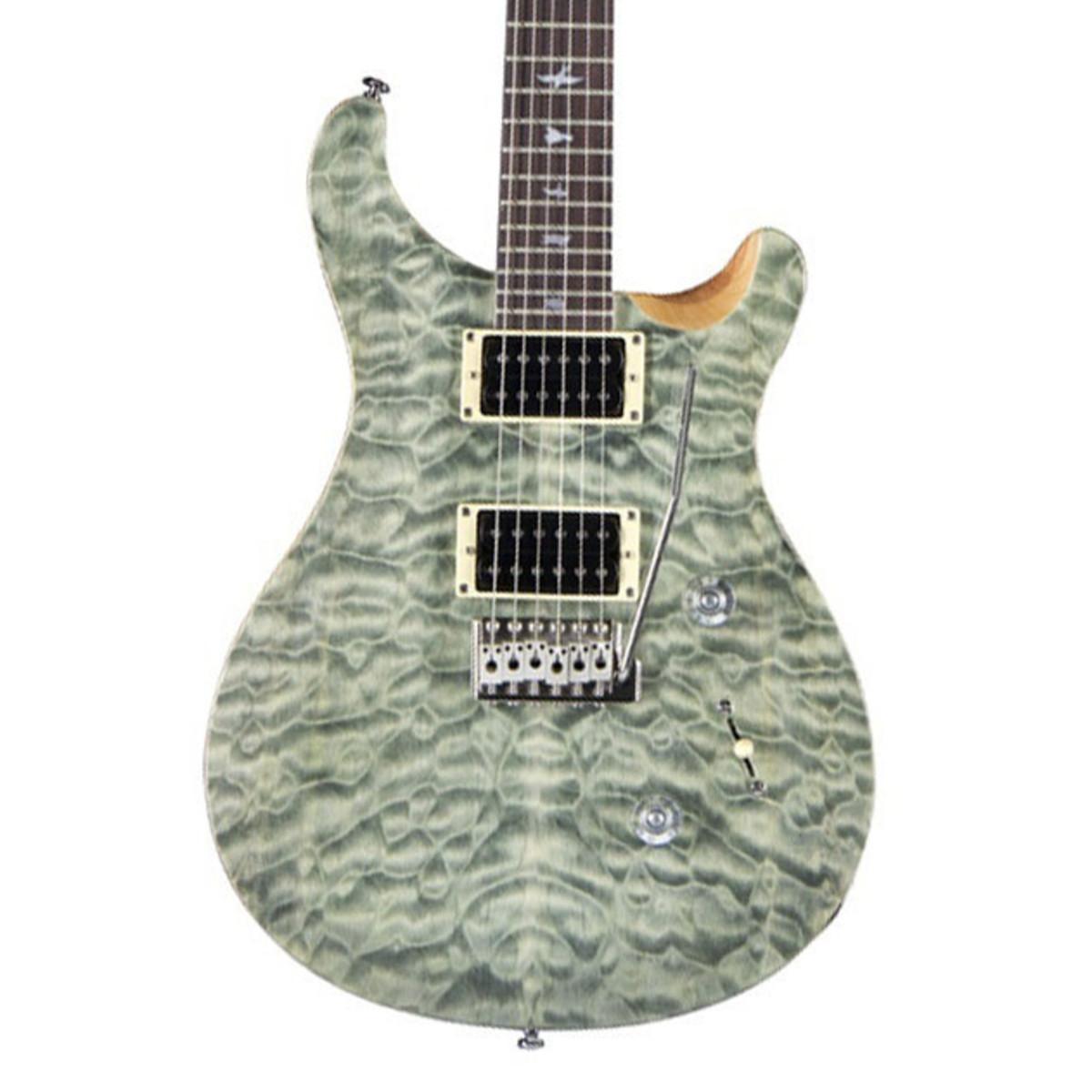PRS SE Custom 24 Quilt Top Electric Guitar, Trampas Green at ... : quilt top guitar - Adamdwight.com