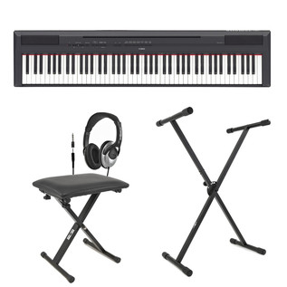 Yamaha P-115 Digital Piano, Black, Inc. Stand, Bench and Headphones