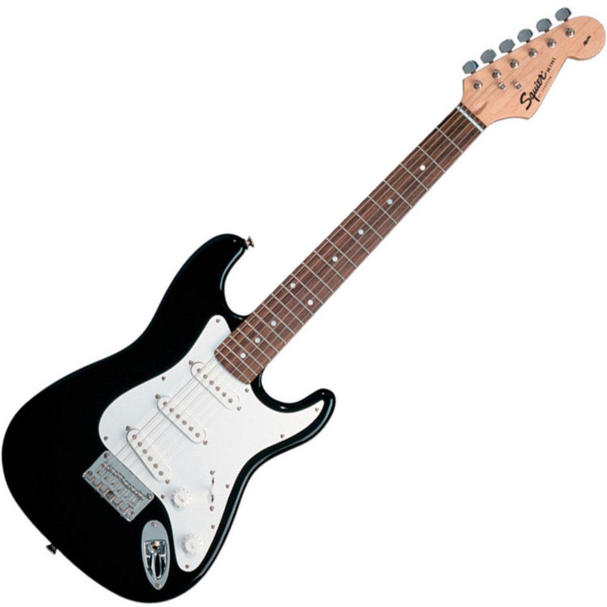 squier by fender mini strat 3 4 size electric guitar black ex demo at gear4music. Black Bedroom Furniture Sets. Home Design Ideas